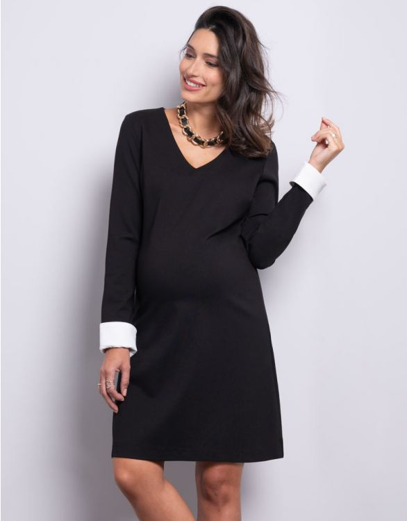 Image for Black Ponte Maternity Dress with Removable Cuffs