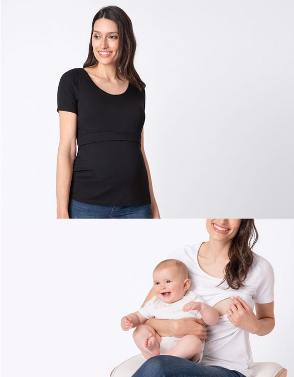 Image for Maternity & Nursing T-shirts – Black & White Twin Pack