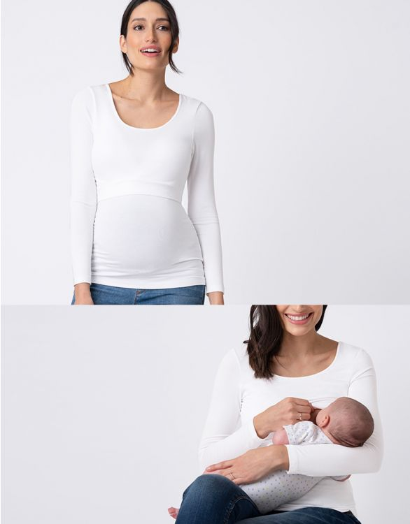 Image for Long Sleeved White Maternity & Nursing Top
