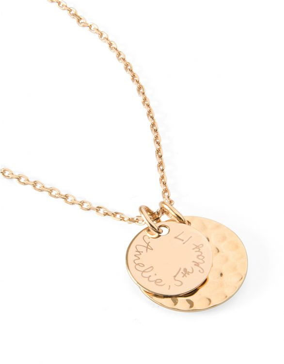 Image for Personalised Large Hammered Necklace - Gold