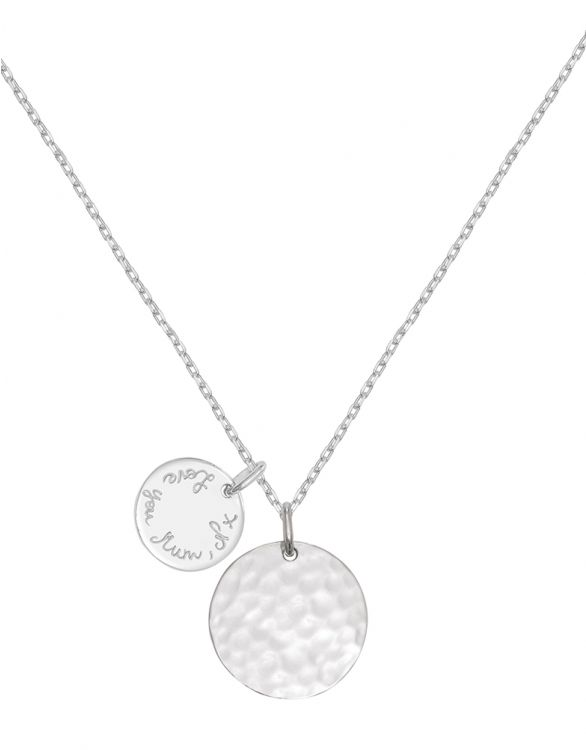 Image for Personalised Large Hammered Necklace - Silver
