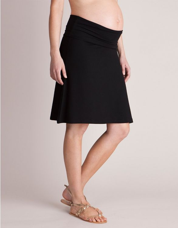 Image for Black Roll-Over Maternity Skirt