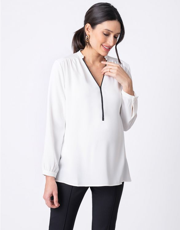 Image for Zip Detail Maternity & Nursing Blouse