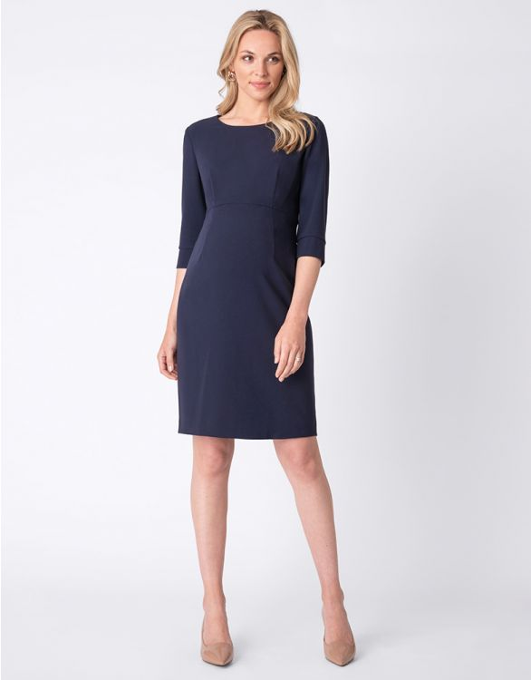 Image for Navy Blue Tailored Maternity Dress