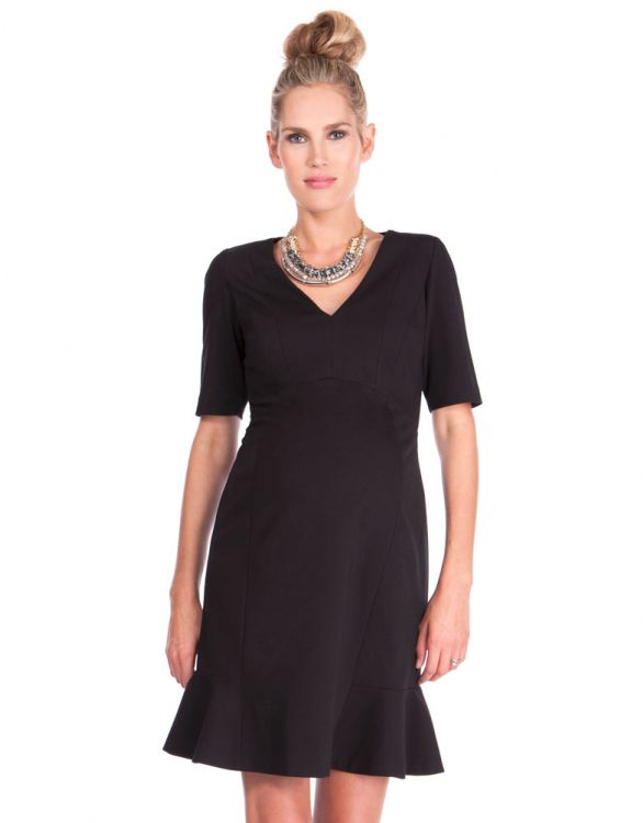 Image for V Neck Ponte Black Maternity Dress