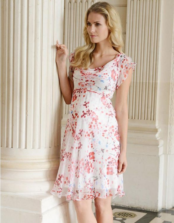 Image for Cherry Blossom Silk Chiffon Maternity Dress