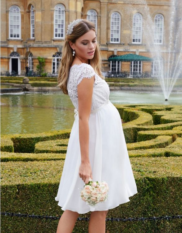 Image for Ivory Silk & Eyelash Lace Maternity Dress