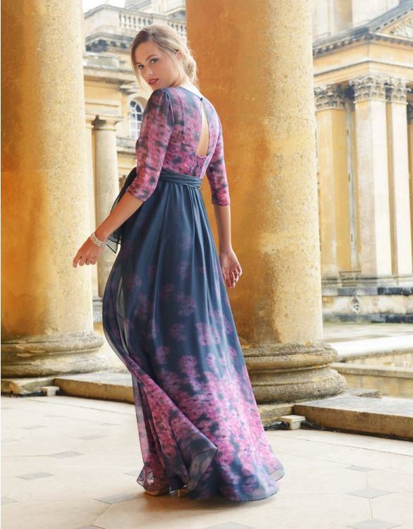 Image for Navy Blue & Pink Floral Silk Maternity Gown