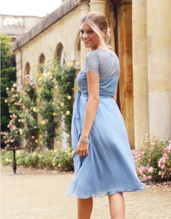 Image for Cornflower Silk & Lace Maternity Dress