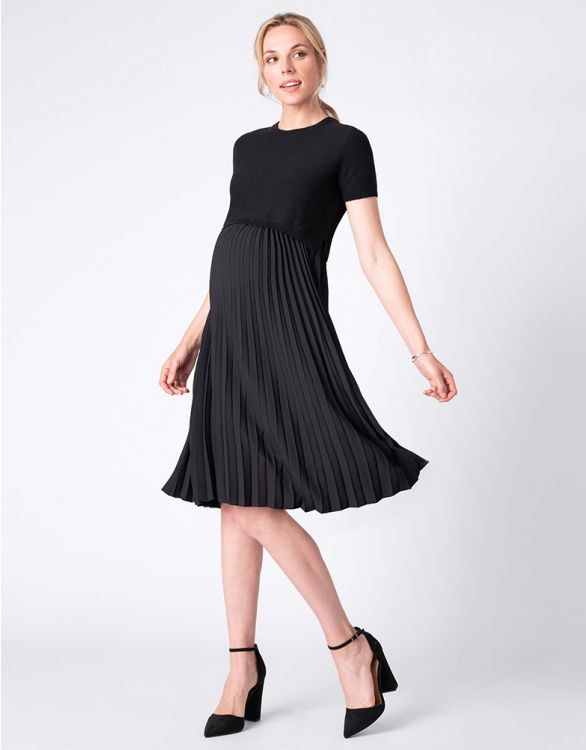Image for Pleated Black Maternity & Nursing Dress