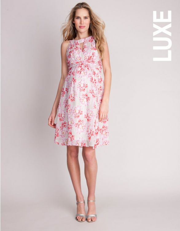 Imagen de Vestido premamá de seda con estampado floral - Rosa
