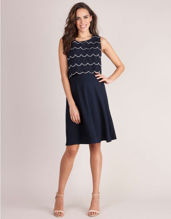 Image for Scalloped Lace Maternity & Nursing Dress