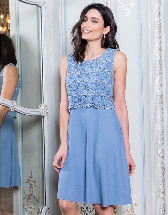Image pour Robe grossesse avec dentelle - Bleu