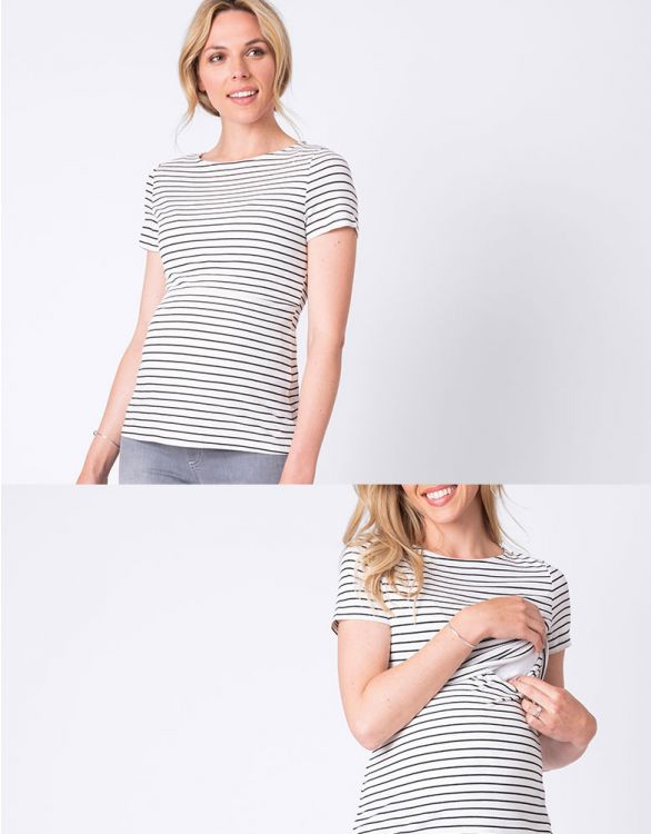 Image for Striped Maternity & Nursing T-shirt