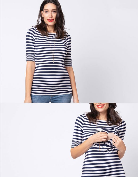 Image for Nautical Maternity & Nursing Top