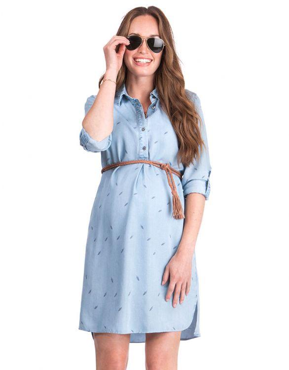 Image for Denim Blue Maternity Shirt Dress
