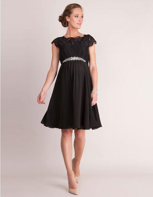 Imagen de Vestido de fiesta premamá de seda y encaje - Negro