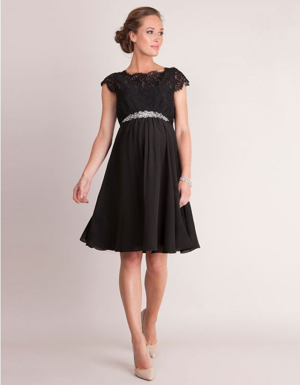 Image for Black Eyelash Lace & Silk Maternity Dress