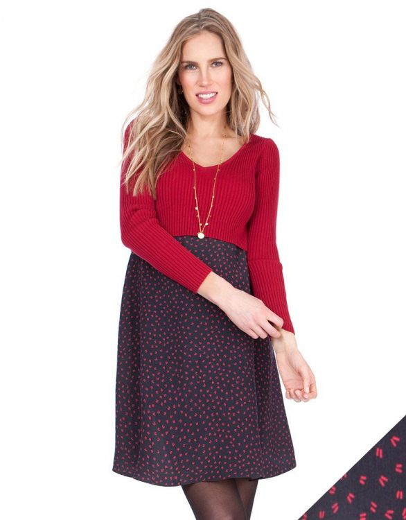Image for Red Knitted Top Maternity & Nursing Dress