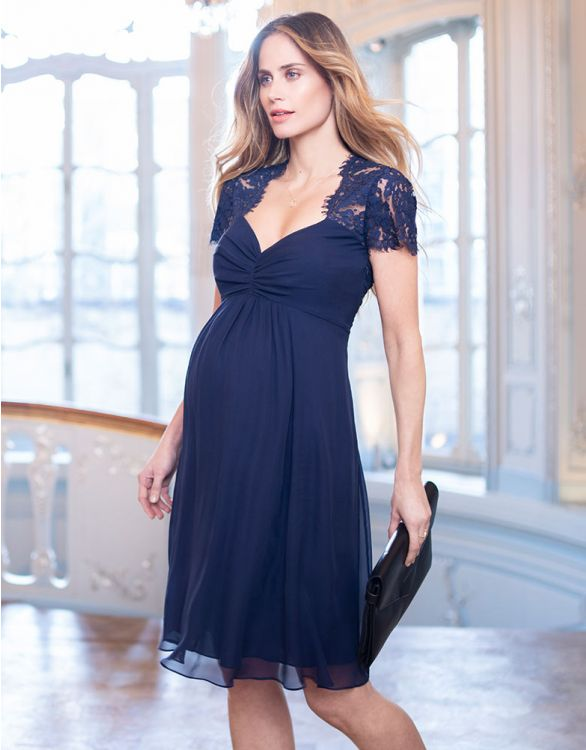 Image for Navy Blue Silk & Lace Maternity Cocktail Dress