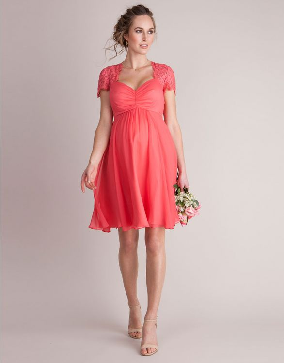 Image for Coral Silk & Lace Maternity Cocktail Dress