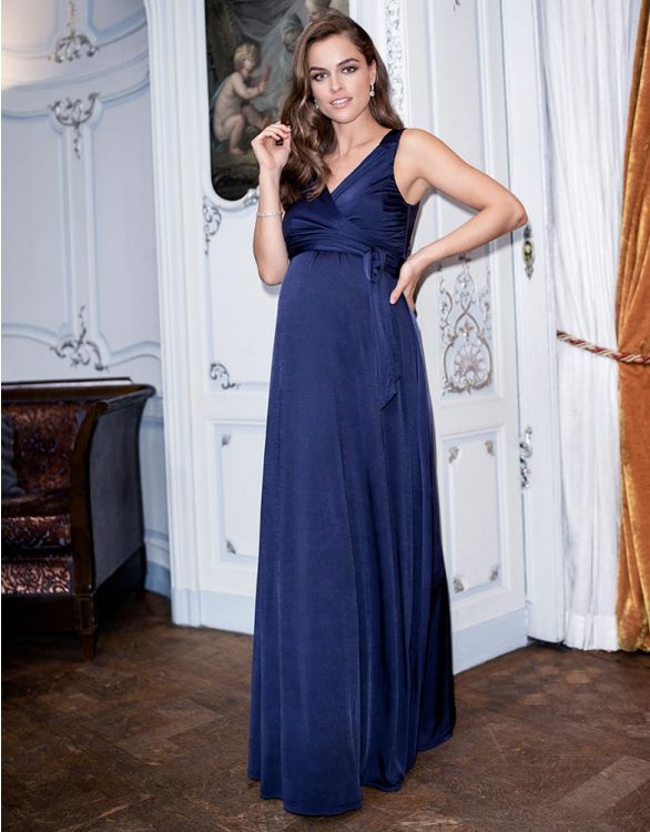 Image for Navy Blue Maternity & Nursing Evening Dress