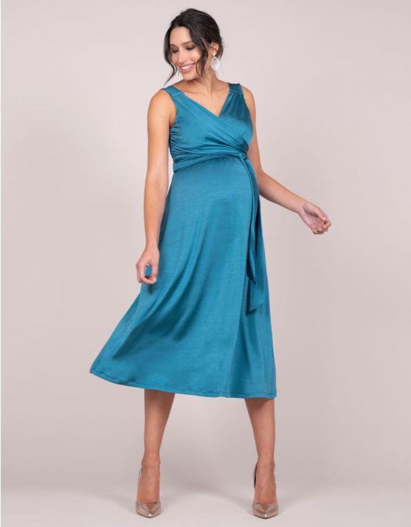 Image pour Robe de cocktail grossesse midi- Bleu pétrole