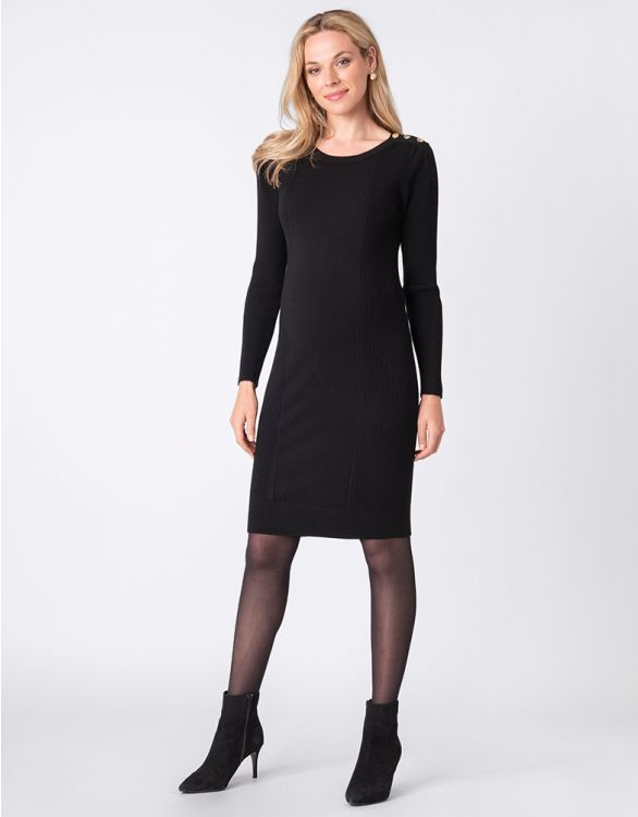 Image for Black Knitted Maternity & Nursing Dress