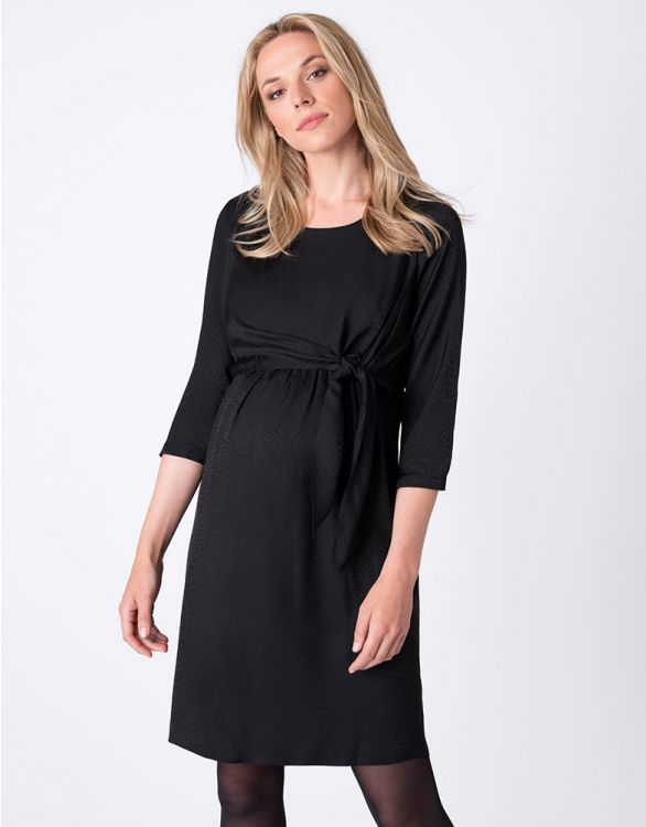Image for Black Jacquard Maternity & Nursing Dress