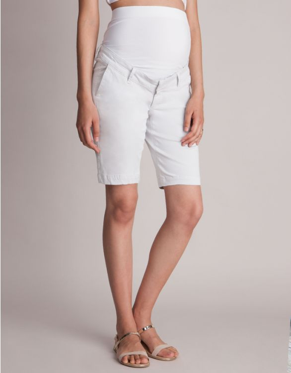 Image for Cotton Blend White Maternity City Shorts