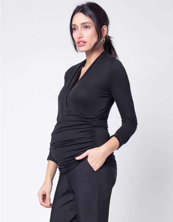 Image for Black Cross Over Maternity & Nursing Top