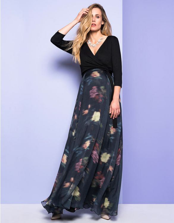 Image for Floral Wrap Maternity & Nursing Maxi Dress
