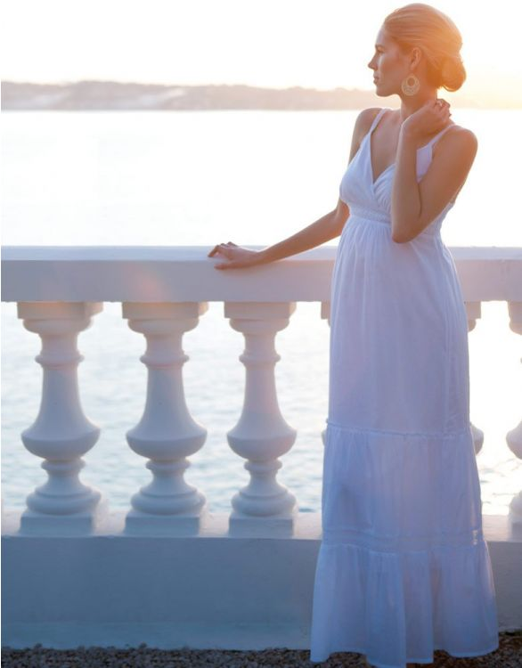 Image for White Cotton Maternity Maxi Dress