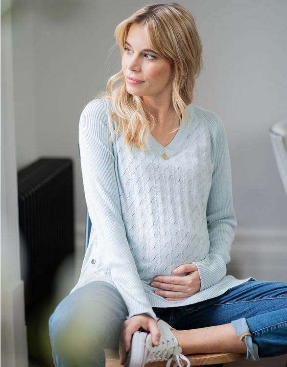 Image for Sky Blue Textured Maternity & Nursing Jumper