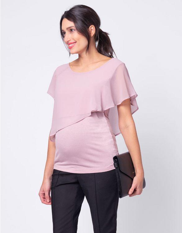 Image pour Haut grossesse voilé asymétrique - Rose poudré