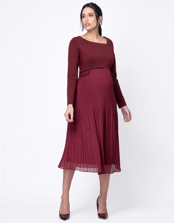 Image for Burgundy Pleated Maternity Midi Dress