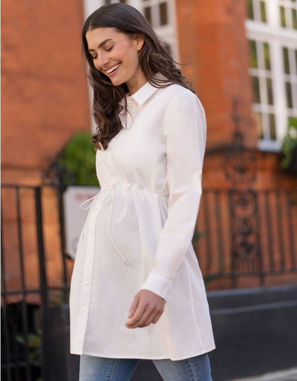 Image for White Cotton Maternity Tunic