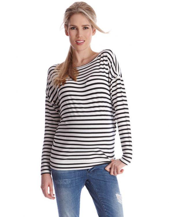 Image for Striped Side Popper Maternity & Nursing Top