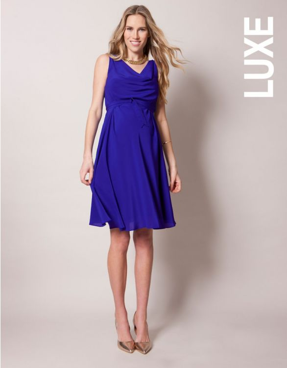 Image for Sapphire Silk Maternity Cocktail Dress