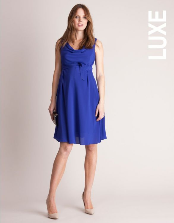 Image for Sapphire Blue Silk Maternity Cocktail Dress
