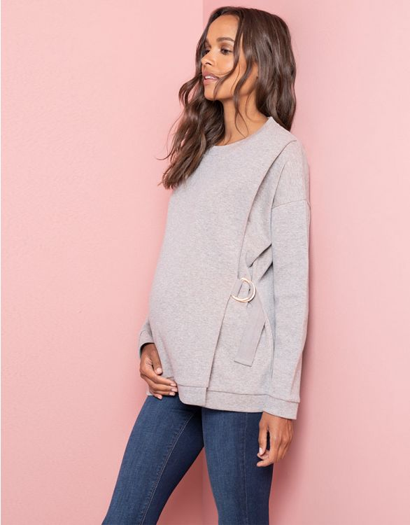 Image for Grey Sparkle Maternity & Nursing Sweatshirt