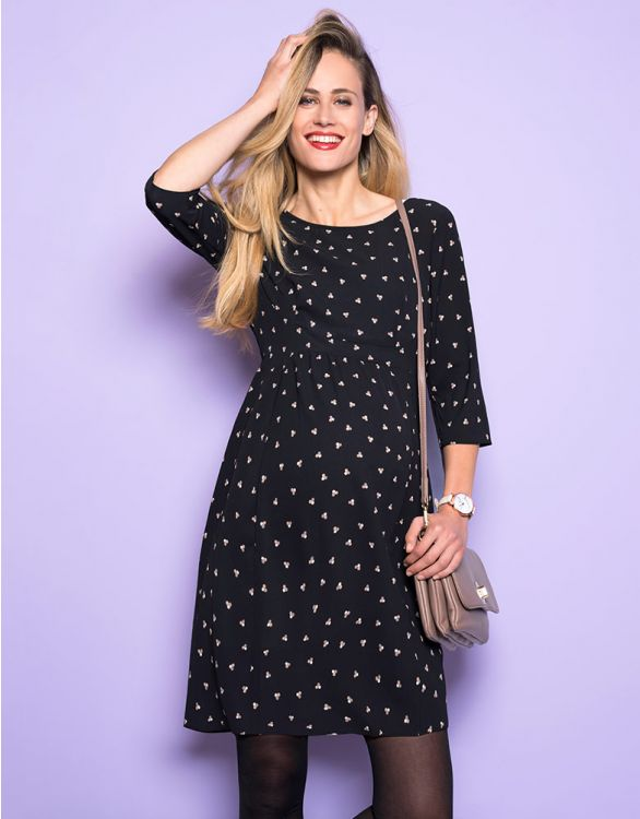 Image for Black Dot Woven Maternity Dress