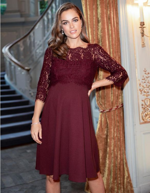 Image for Burgundy Lace Maternity & Nursing Dress