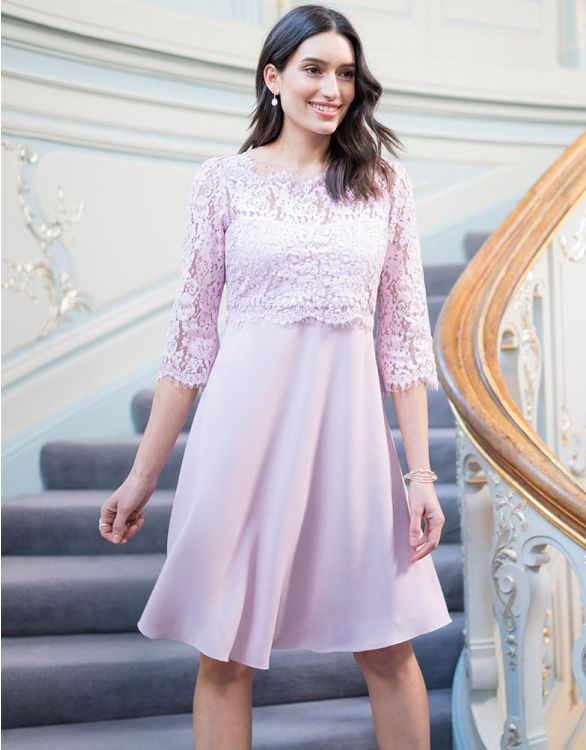Image for Lilac Lace Maternity & Nursing Dress