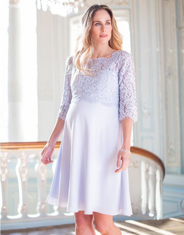 Image for Pale Blue Lace Maternity & Nursing Dress