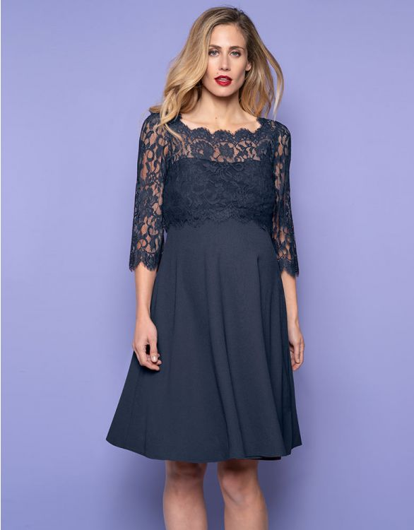 Image for Teal Blue Lace Top Maternity & Nursing Dress