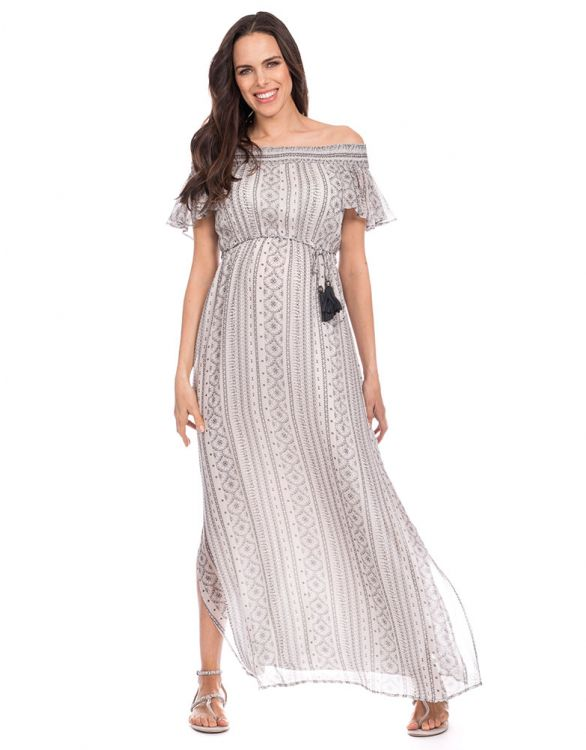 Image for Boho Off the Shoulder Maternity Maxi Dress