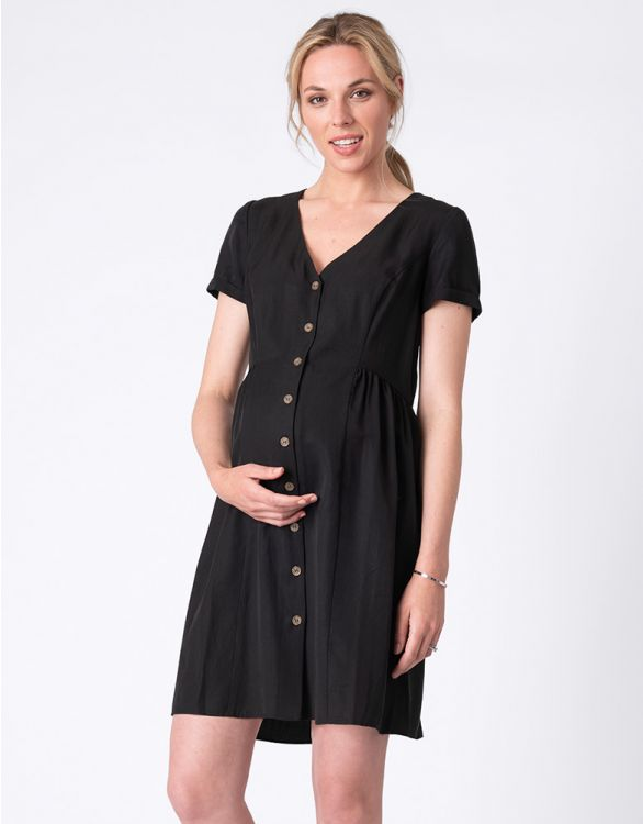 Image for Button Down Black Maternity Dress