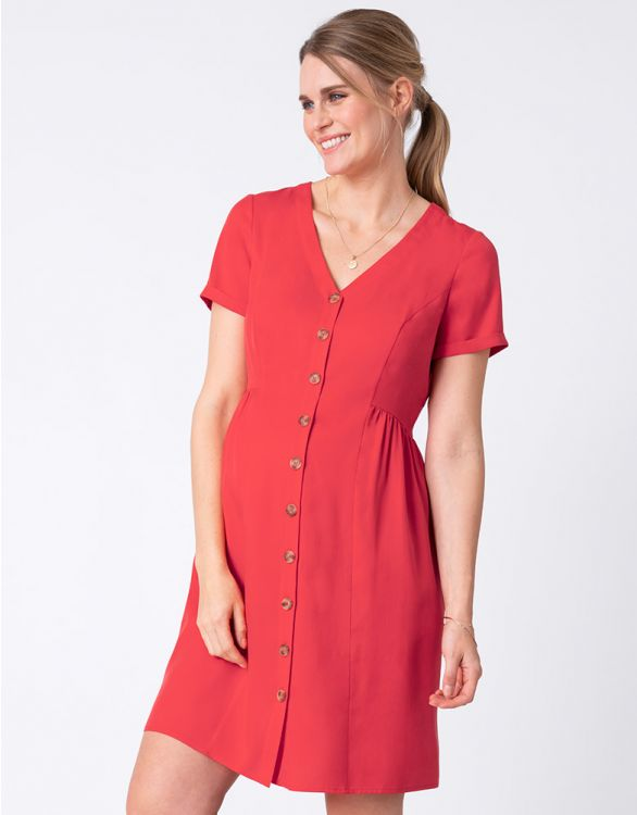 Image for Button Down Coral Red Maternity Dress