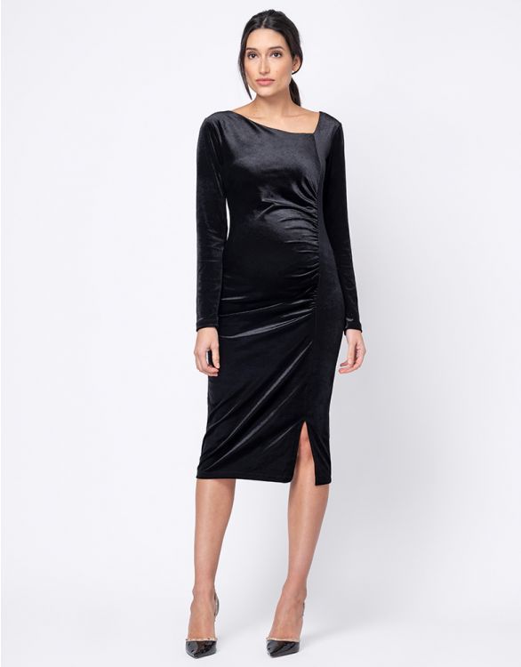 Image for Stretch Velvet Maternity Midi Dress